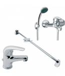 Набор смесителей для ванны и душа с душевой стойкой Ferro VASTO BVA2+BVA11+RAIL 1.0
